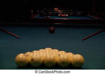 table, snooker, jeu, piscine