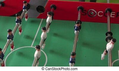 Table soccer game closeup camera movement