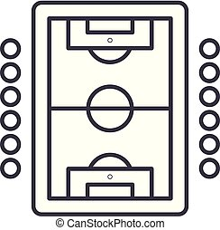 Table soccer play line icon concept. Table soccer play vector linear illustration, symbol, sign