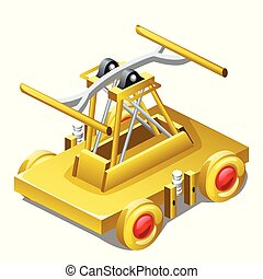 Table souvenir in the form of draisine or handcar made of gold isolated on white background closeup. Vector illustration.