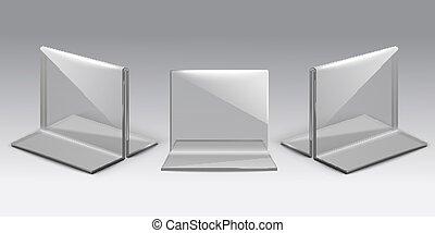 Table stand for menu or desktop plexiglass realistic vector ...