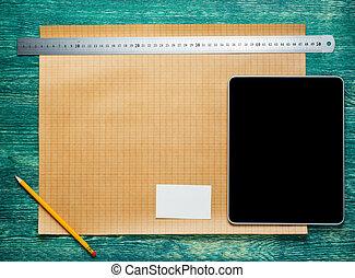 table., tablette, bois, vendange, sommet, arrière-plan., ingénierie, construction, architecte, bureau, pc., vue., outils, worplace