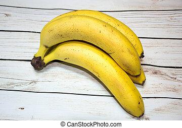 table, tas, bananes, bois