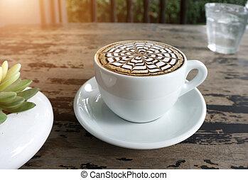 table, tasses café, moka