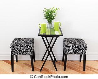 table, tasses, vert, deux