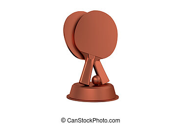Table Tennis Bronze Trophy with a white background