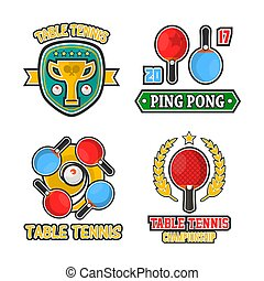 Table tennis colorful logo labels vector poster on white