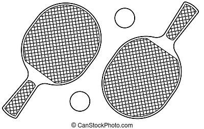 Table tennis contour illustration