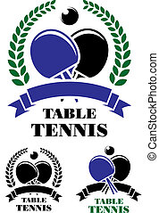 Table tennis emblems set - Set of table tennis emblems with...