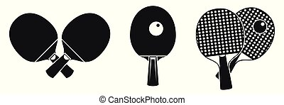 Table tennis equipment icons set, simple style