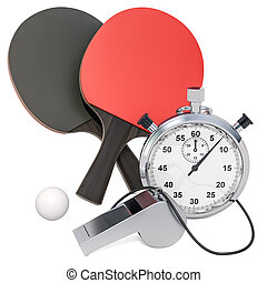 Table tennis equipment with whistle and stopwatch, 3D rendering