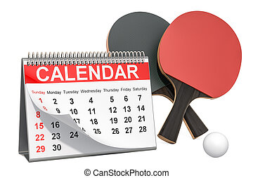 Table tennis events calendar concept. 3D rendering