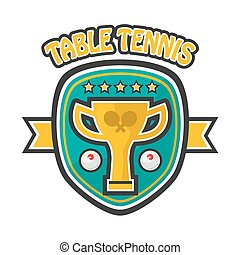 Table tennis five-star private club emblem isolated illustration