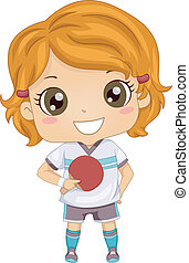 Table Tennis Girl - Illustration of a Girl Holding a Table...