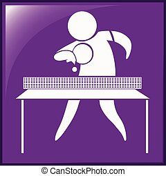 Table tennis icon on purple background illustration
