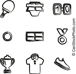 Table Tennis Icons Freehand