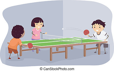 Table Tennis Kids - Illustration Featuring Kids Playing...