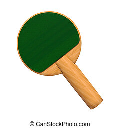 3D digital render of a green paddle for a table tennis game isolated on white background