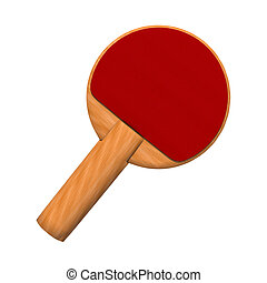 3D digital render of ared paddle for a table tennis game isolated on white background