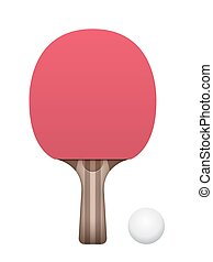Table Tennis Paddle and Ball Illustration