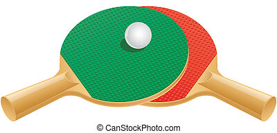 Table tennis paddles and ball - Two table tennis (ping pong)...