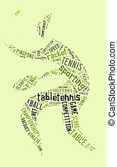 Table tennis pictogram with green words on green background