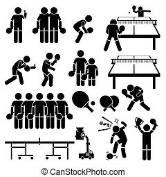 Table Tennis Player Actions - A set of stickman pictogram...