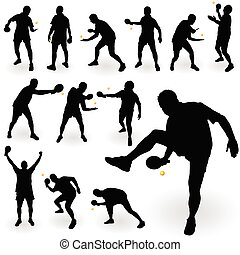 table tennis player with ball black silhouette on white background