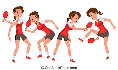 Table Tennis Player Female Vector. Receives The Ball. Stylized Player. Isolated Flat Cartoon Character Illustration