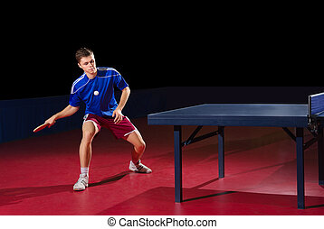 Table tennis player (isolated ver) - Young man table tennis...