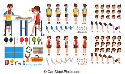 Table Tennis Player Male, Female Vector. Animated Character Creation Set. Ping Pong. Man, Woman Full Length, Front, Side, Back View, Accessories, Poses, Face Emotions, Gestures. Isolated Flat Cartoon Illustration