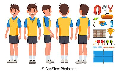 Table Tennis Player Male Vector. Game Match. Ping Pong. Isolated Flat Cartoon Character Illustration