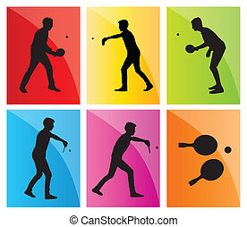 Table tennis player silhouette ping pong set vector...