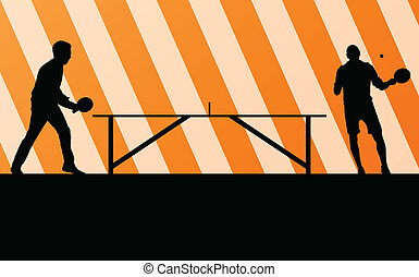 Table tennis player silhouette ping pong vector background...