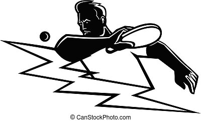 Table Tennis Player Striking Ping Pong Ball Lightning Bolt Mascot Black and White