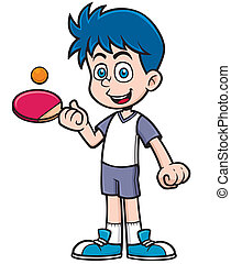 Table tennis player - Vector illustration of cartoon table...