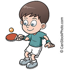 Table tennis player - Vector illustration of cartoon table ...