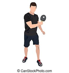 Table tennis player with ball and racket, vector flat isolated illustration