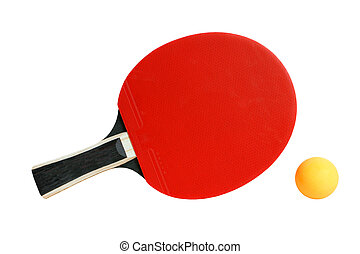 Table tennis racket and ball isolated on the white...