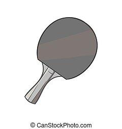 Table tennis racket icon, black monochrome style