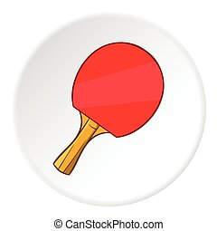 Table tennis racket icon, cartoon style