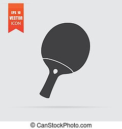 Table tennis racket icon in flat style isolated on grey background.