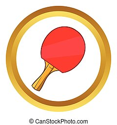 Table tennis racket vector icon, cartoon style
