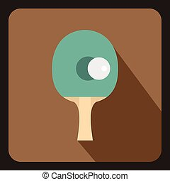 Table tennis racket with ball icon, flat style - Table...