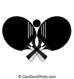 Table tennis racket with ball silhouettes, vector illustration