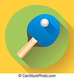 Table tennis racket with ball vector illustration