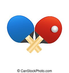 Table tennis rackets with ball vector illustration on white background