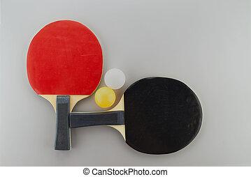 Table tennis racks with ping pong balls