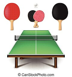 Table tennis set isolated on white vector