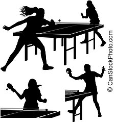 table tennis silhouettes - vector icons of women palying...